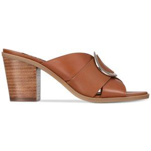 NEW DKNY Cavi Brown Leather Mules Slip On Heels